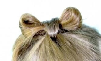 Хвостики з бантиками з волосся для дівчаток
