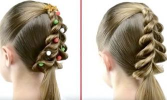 Зачіски на новий рік 2016 року для дівчаток своїми руками